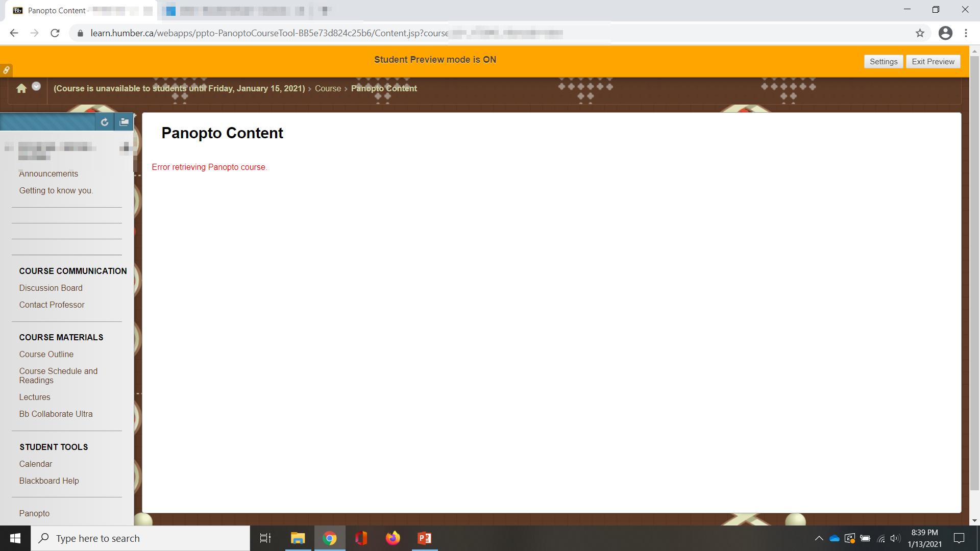 A screenshot of Panopto within Blackboard with error: Error retrieving Panopto course
