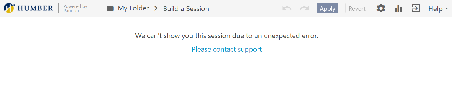 Screenshot of error message: We can't show you this session due to an unexpected error.