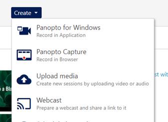A screenshot of Panopto's new Create Menu