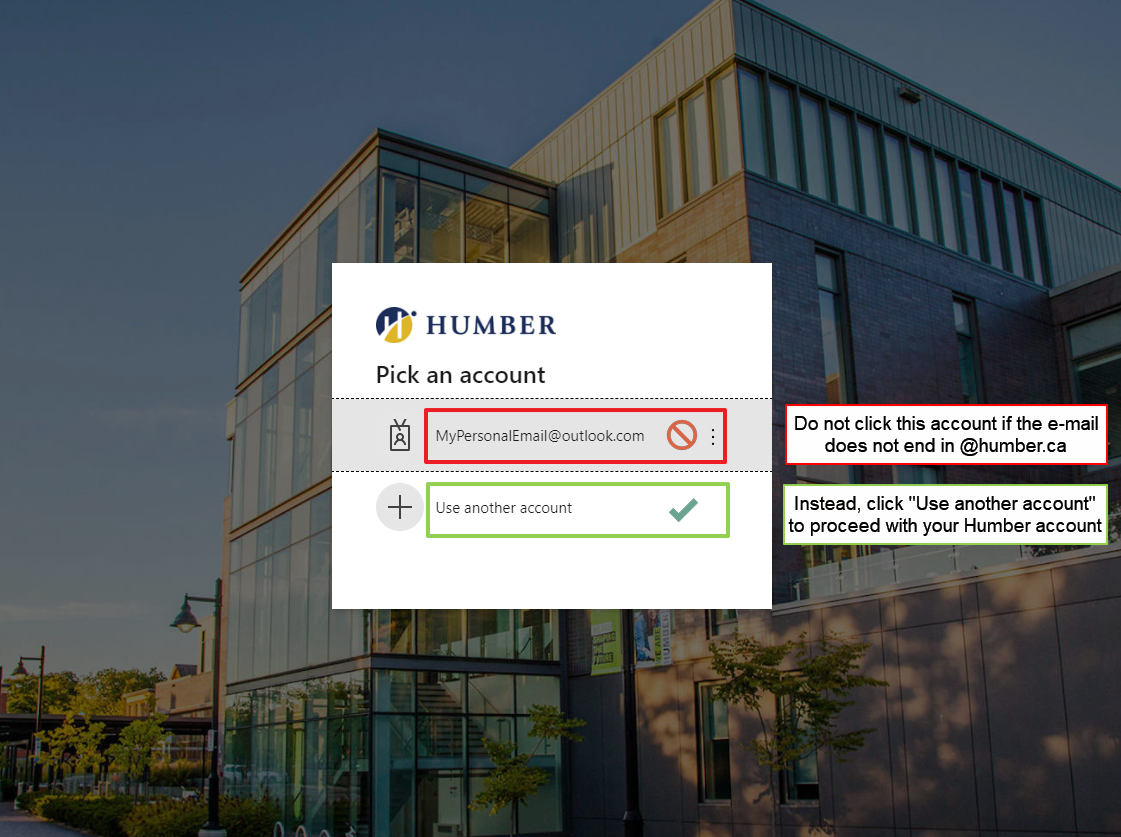A screenshot of the Humber login screen. Pre-entered in the selection is