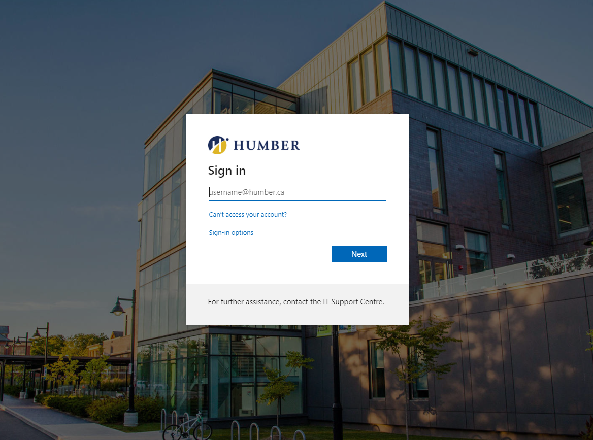 A screenshot of Humber's new login experience, prompting for username@humber.ca to be entered.
