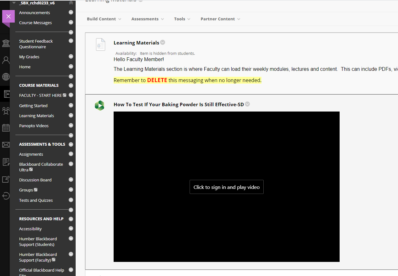 """A screenshot of a Panopto embed within Blackboard. The embed shows a dark/black screen with a button that indicates """"Click to sign in and paly video"""""""